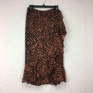 Peruvian Connection Brown Tribal Print Wrap Skirt